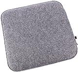 Filz Sitzkissen in graumeliert und cremeweiß zum Wenden, waschbare Stuhlauflage mit Füllung inkl. Reissverschluss. Moderne Sitzauflage für Bank und Stuhl mit runden Ecken, weich gepolstert. Designer Sitzpolster / Filzauflage, quadratisch ca. 35x35cm groß