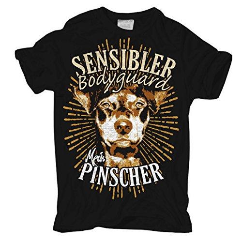 Männer und Herren T-Shirt Deutscher Pinscher - Sensibler Bodyguard Schwarz