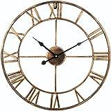Soledi - Reloj de pared vintage retro europeo, con manecillas de hierro en 3D, color dorado