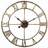 SOLEDI Reloj de Pared Vintage Retro Europeo Con Manecillas de Hierro en 3D Color Dorado