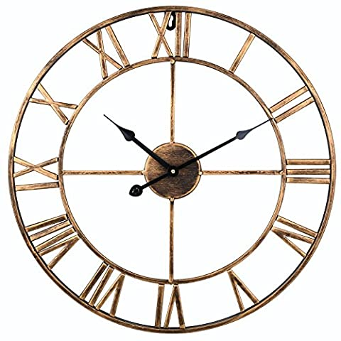 Soledi Vintage Clock European Retro Handmade Iron 3D Decorative Wall Clock (Gold)