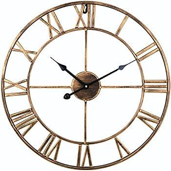 Soledi Vintage Clock European Retro Handmade Iron 3D Decorative Wall Gold