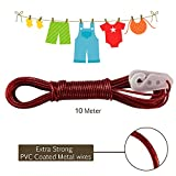 #5: AllExtreme 10 meter PVC Coated Steel Anti-Rust Wire Rope Washing Line Clothesline with 2 Plastic Hooks(Red)