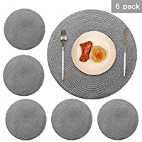 Round PP Placemats for Kitchen Table Plastic Dinner Placemats Woven Vinyl 15 Inch Heat Insulation Easy to Clean Set of 6 (Dark Grey)