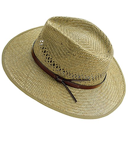 t Strohhut Sommerhut Sonnenhut Modehut Cowboyhut Panamahut Gärtnerhut Hut mit Ziergürtel für Männer (FI-16405-S17-HE1-111-57) in Natur, Größe 57 inkl. EveryHead-Hutfibel (Stroh-hüte Für Männer)