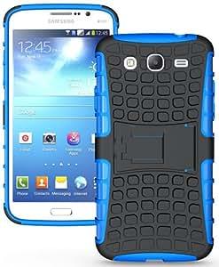 Heartly Flip Kick Stand Hard Dual Armor Hybrid Rugged Bumper Back Case Cover For Samsung Galaxy Mega 5.8 I9150 I9152 - Power Blue