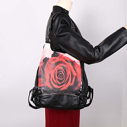 Angelkiss Stampa Digitale lavato PU borse a spalla Zaino in pelle K15631/5 Nero G