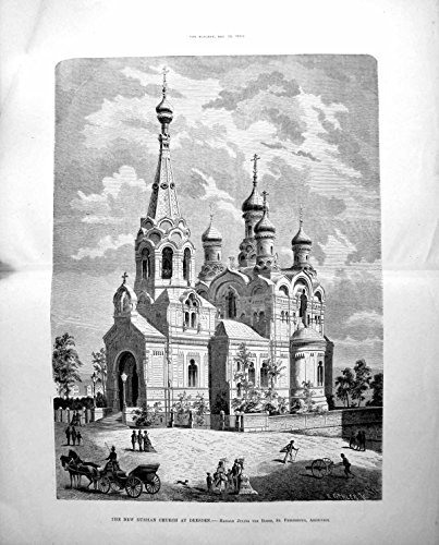 Old Original Antique Victorian Print New Russian Church Dresden Horses