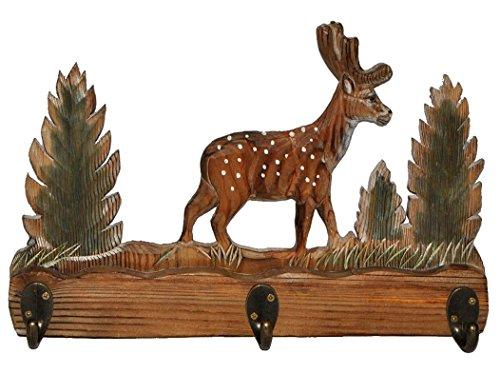Garderobenhaken Hirsch  Reh aus Holz - Wandhaken mit 3 Kleiderhaken aus Metall Wandgarderobe - Hirschgeweih- Tiere Waldtier Förster