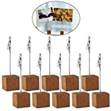 Rosenice 11,4 cm Wood guides de dessus de table Photo Cube Base carte Note Bureau Memo Clips support, 10