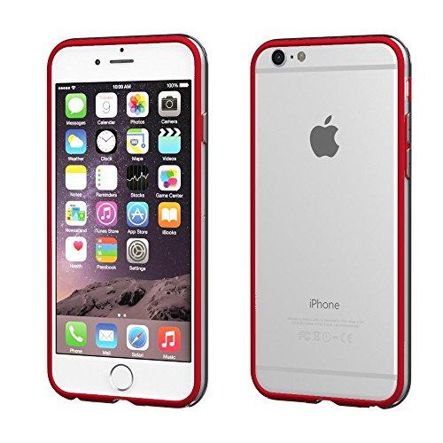 Bumper Case Cover für Apple iPhone 6 / 6s Plus (5,5 Zoll) - Schutzhülle für den Rand aus PC mit Dämpfern aus Silikon in hellblau macht den Rahmen besonders leicht und dünn - iPhone6/6s Plus Hülle Tasc rot