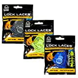 LOCK LACES - Cordones elásticos sin nudo, para zapatillas - 3 pares (Negro-Verde-Azul)