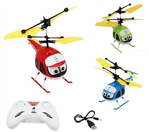 3x Mein erster ferngesteuerter Hubschrauber!Steuerbar per Fernsteuerung oder per Hand mit Sensorsteuerung!Einfach zu steuern und zu fliegen!Start-Stop Funktion-Mit blinkenden LED Lichter