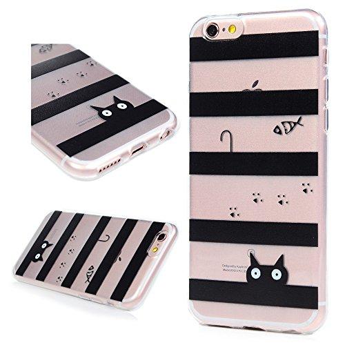 iPhone 6 / 6s Cover Silicone, Custodia Morbida TPU per iPhone 6/ 6s - BADALink Anti Scratch Ultra Slim Case Protettiva - Totem Nero Gatto Amore Pesce