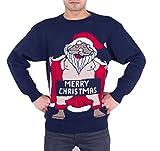 Herren Damen Unisex Christmas Reindeer Gingerbread Man Neuheit Strick Jumers (Mens 2XL, Naked Santa Marine)