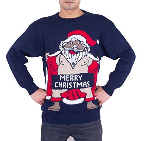 Felpa da uomo, da adulti, motivo: Babbo Natale nudo con scritta