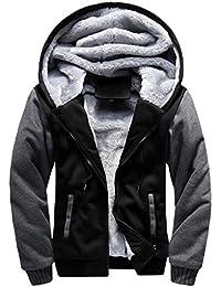 412d6f63fa9a Toamen Manteau Hommes Hiver Chaud épais Zipper Sweat à capuche Faux Toison  Veste Nouvelle Arrivee (Noir