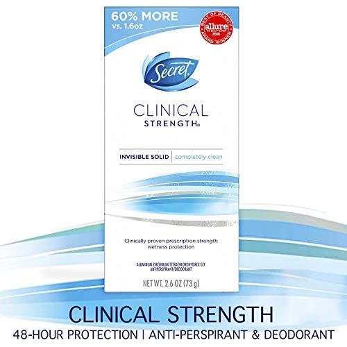 Desodorante Secret Clinical Strength y antitranspirante para mujeres, sólido invisible, completamente limpio, 2.6 onzas