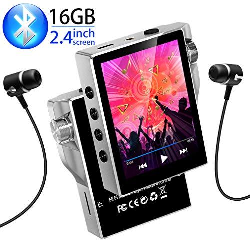 Gueray 16 GB HiFi Bluetooth MP3 Player Verlustfreier Digitaler Audio-Player mit Hoher Auflösung Walkman mit Video-E-Book-FM-Radio Digitalaufnahme SD-Kartensteckplatz für bis zu 128 GB