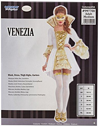 Joker 997700-m - dama veneziana donna lusso costume di carnevale in busta, bianca e oro
