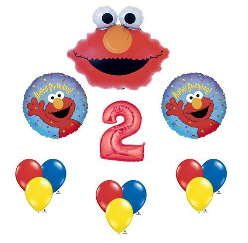 Elmo Sesame Street #2 2nd Second Birthday Party Supply Balloon Mylar Latex Set by (Sesame Party Street Supplies Birthday)