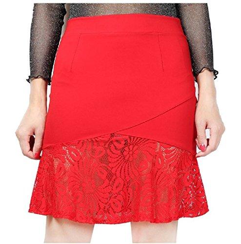 CuteRose Women High Waist Casual Lace Hem Patched Sexy Lounge Mini Skirt Dress XS Red - Rot Plaid Lounge