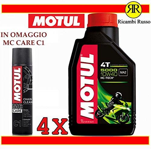 Olio motore moto Motul 5000 10w40 4T litri 4 + OMAGGIO MC Care C1 Ch
