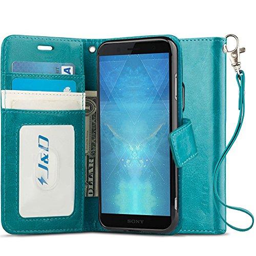 JundD Kompatibel für XZ2 Premium Leder Hülle, [RFID Blocking Standfuß] [Slim Fit] Robust Stoßfest PU Leder Flip Handyhülle Tasche Hülle für Sony Xperia XZ2 Premium Hülle - Nicht für Sony XZ2/XZ2 Compact