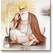 Yaya Cafe™ 15x15 inches Devotional Guru Nanak Dev Ji Sikhism Sikh Guru Canvas Wall Painting Hangings Gurpurab
