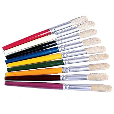 Color-Coded Beginner Paint Brushes For Kids- Set of 9 by Constructive Playthings
