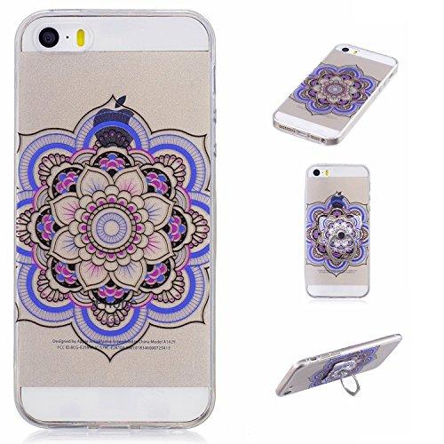 Custodia per iPhone 5S / 5 / SE ,JIENI Unicorn stack up Trasparente TPU Stent misto Cover Coperchio Flessibile Sottile Protettivo Morbido Silicone Custodia Skin Bumper Case per iPhone 5S / 5 / SE FD61