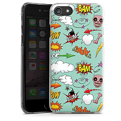 Apple iPhone X Silikon Hülle Case Schutzhülle Totenkopf Comic Bombe Sticker Style Hard Case transparent