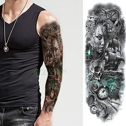 Handaxian 3pcs-Waterproof Tattoo Sticker Engelsflügel Tiger Flower Tattoo Tattoo Set Männer und Frauen 3pcs-1 -