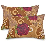 Ahmedabad Cotton 2 Pcs Cotton Pillow Cover Set - Brown, Red