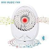 Ventilatore altoparlante Bluetooth portatile Mini ventilatore musicale con altoparlante Bluetooth Built-in 1800mAh batteria ricaricabile, 3 livelli di velocità regolabile, supporto TF Card fino a 64 GB - Bianco