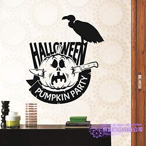 yaoxingfu Happy Halloween Große Wandaufkleber Geier Kürbis Laterne Glas Aufkleber Fensteraufkleber Poster V gelb 40x45cm (Hochzeits-kuchen-deckel-eule)
