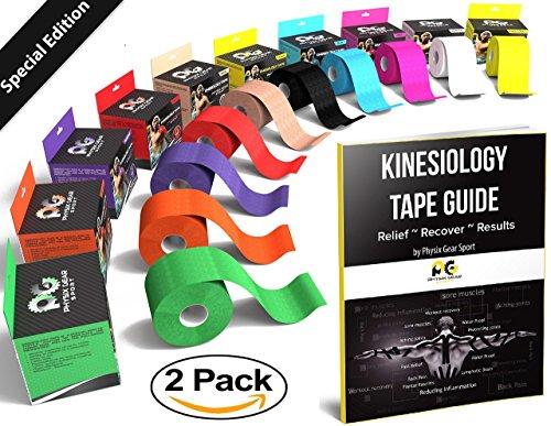 Kinesiology Tape (2 Pack or 1 Pack) Physix Gear Sport, 5cm x 5m Roll Uncut, Best Waterproof Muscle...