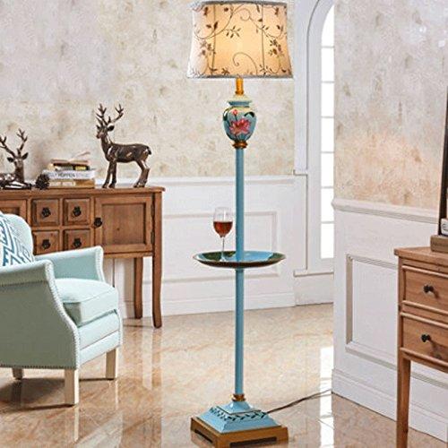 Amerikanische Retro-Harz-Stehlampe, handbemalte gemusterte Lampenstange, handbestickter Leinenschirm, Arbeitszimmer Wohnzimmer Stehleuchte (Farbe : D) (Gemusterte Stoffschirm)