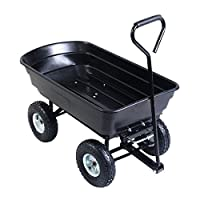 EAZYGOODS Garden Dump Cart 75L 300 kg Wheelbarrow Tipping Trolley Utility Truck Trailer Black