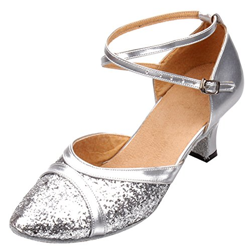 Oasap Women's Pointed Toe Sequin Block Heels Latin Dance Shoes Silver