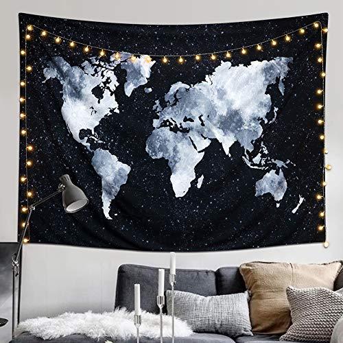 Dremisland Tapiz de Pared Hippie Bohemio Mandala Tapiz Mapa del Mundo Tapiz Blanco Negro Colgar en la Pared para Sala Dormitorio Decoración (Mapa del Mundo Negro, L / 148 X 200 cm)