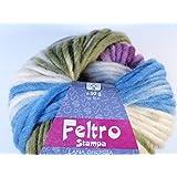 Lana Grossa Feltro Stampa 1402Color Blanco/Azul Claro/Púrpura/heno verde 50g