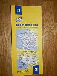carte routière Michelin n°63 VANNES - ANGERS