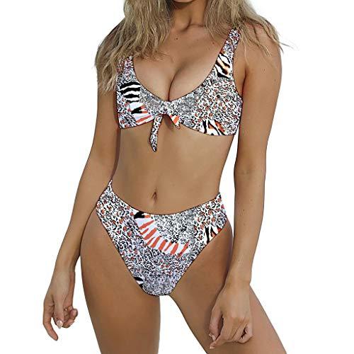 QingJiu Damen Geknotete Gepolsterte Tanga Bikini Mitte Taille Scoop Badeanzug Strandbadebekleidung