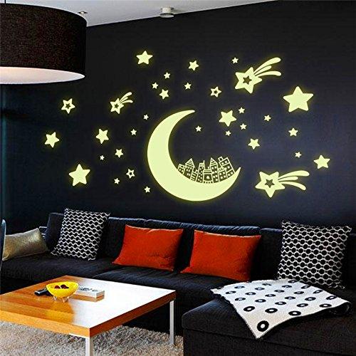 Mond Stadt schön Home Wand Dekor Vinyl Aufkleber Küche Toilette Dekoration Wall Sticker Poster Aufkleber Wandbild für Kinder Zimmer HH 1401, als Bild