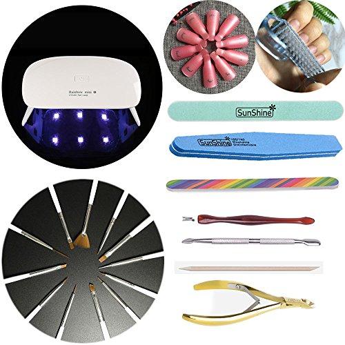 Joligel Kit de manucure professionnel avec mini lampe UV LED + 12 pinceaux pour ongles + 10 doigtiers pour dissolvant + brosse nettoyante pour ongles + limes et polissoirs + bâtonnets + kit cuticules avec poussoir, fourchette et pince coupe-cuticules