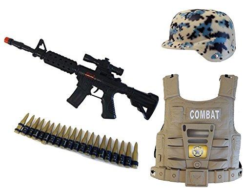 Brigamo 582 - US ARMY Soldaten Kostüm Set mit Maschinengewehr, Helm, Weste und Patronengürtel (Kinder Spielzeug Soldaten Kostüme)
