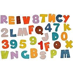 35 tlg. Set Sticker / Aufkleber Filz - Alphabet Zahlen Buchstaben - für Schulanfang Deko Schultüte Schulbeginn Schule ABC