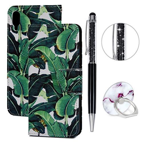 DeirCase Hülle kompatibel für Samsung Galaxy A40,Handyhülle Leder PU Cover Magnet Flip Wallet Case Schutzhülle Kartensteckplätzen & Ständer Handytasche Bumper mit Eingabestifte & Ringschnalle