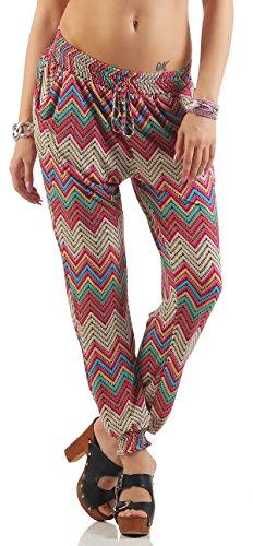Damen Haremshose leichte Retro-Print Sommer Freizeithose Aladinhose Strand Pluder Pumphose Hippie-Muster Jeggings MG576 (M/L (36/38), Pink) (70er Jahre Hippie Mode)